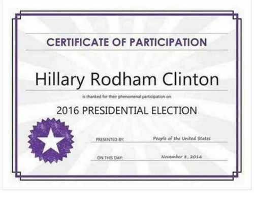 2016 Presidential Election: CERTIFICATE OF PARTICIPATION  Hillary Rodham Clinton  is thanked for their phenomenalparticipation on  2016 PRESIDENTIAL ELECTION  People of the United States  PRESENTED BY  November 8, 2036  ON THIS DAY
