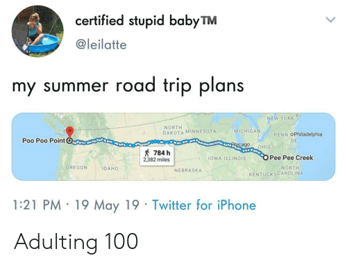 Minnesota: certified stupid babyTM  @leilatte  my summer road trip plans  RI  NEW YORK  NORTH  DAKOTA MINNESOTA  MICHIGA  PENN OPhiladelphia  Poo Poo PointC  DE  cago OHIO  784 h  2382 milesOWA ILLINOIS  Pee Pee Creek  OREGON IDAHO  NORTH  NEBRASKA  KENTUCKYCAROLINA  1:21 PM 19 May 19 Twitter for iPhone Adulting 100