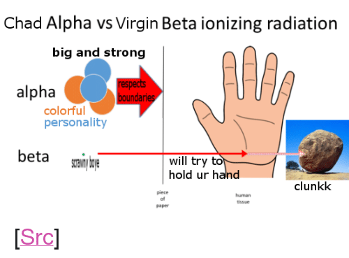 """Reddit, Virgin, and Strong: Chad Alpha vs Virgin Beta ionizing radiation  big and strong  alpha  respects  boundaries  colorful  personality  beta sran u  will try to  hold ur hand  clunkk  human  tissue  of  paper <p>[<a href=""""https://www.reddit.com/r/surrealmemes/comments/8fh72j/tag_ur_frends/"""">Src</a>]</p>"""