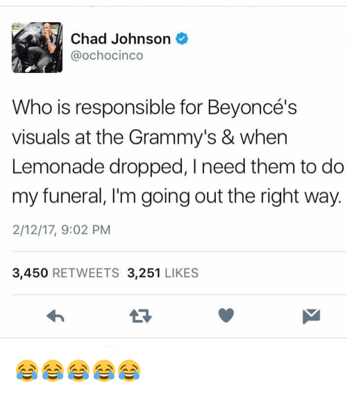Memes, Chad Johnson, and 🤖: Chad Johnson  Ca ochocinco  Who is responsible for Beyonce's  visuals at the Grammy's & when  Lemonade dropped, I need them to do  my funeral, l'm going out the right way  2/12/17, 9:02 PM  3,450  RETWEETS  3,251  LIKES 😂😂😂😂😂