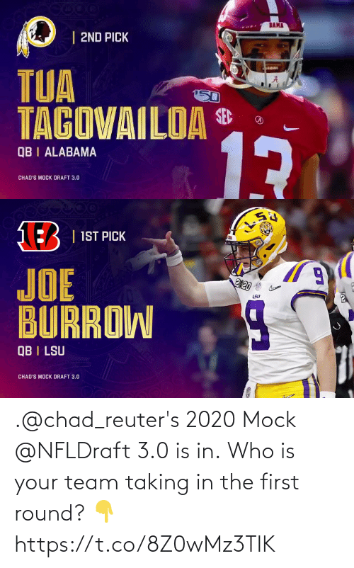 3 0: .@chad_reuter's 2020 Mock @NFLDraft 3.0 is in.  Who is your team taking in the first round? 👇 https://t.co/8Z0wMz3TIK