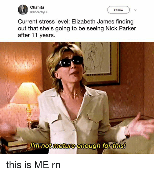 Stress Level: Chahita  Follow  Current stress level: Elizabeth James finding  out that she's going to be seeing Nick Parker  after 11 years  m not  mature enoug  h for this! this is ME rn