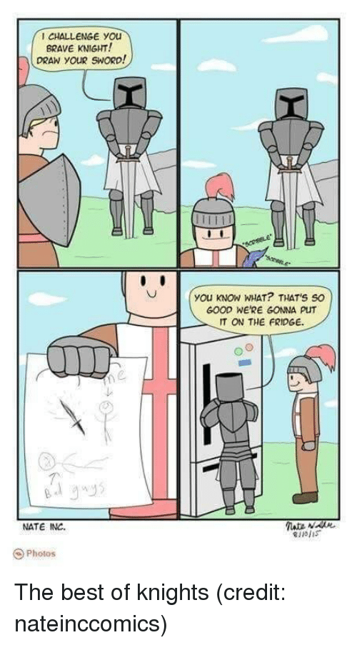 Best, Brave, and Good: CHALLENGE YOu  BRAVE KNIGHT!  DRAN YOUR SWORD  you KNOW WHAT? THAT'S SO  GOOD WE'RE GONNA PUT  IT ON THE FRIDGE.  个.  NATE INC.  O Photos <p>The best of knights (credit: nateinccomics)</p>