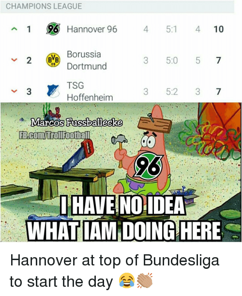 Memes, Champions League, and Borussia Dortmund: CHAMPIONS LEAGUE  1 96 Hannover 96  4 5:1 410  Borussia  Dortmund  TSG  Hoffenheim  3 5:0 5 7  09  3 5:2 37  HAVE NOIDEA  WHATIAM DOING HERE Hannover at top of Bundesliga to start the day 😂👏🏽