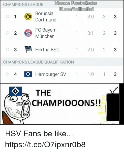munchen: CHAMPIONS  LEAGUE B.oomollooel  Borussia  Dortmund  1 3:0 33  FC Bayerrn  München  2  1 3:1 23  3  Hertha BSC  1 2:0 23  CHAMPIONS LEAGUE QUALIFIKATION  4 Hamburger SV1:0 3  THE  CHAMPIOOONS!! HSV Fans be like... https://t.co/O7ipxnr0b8