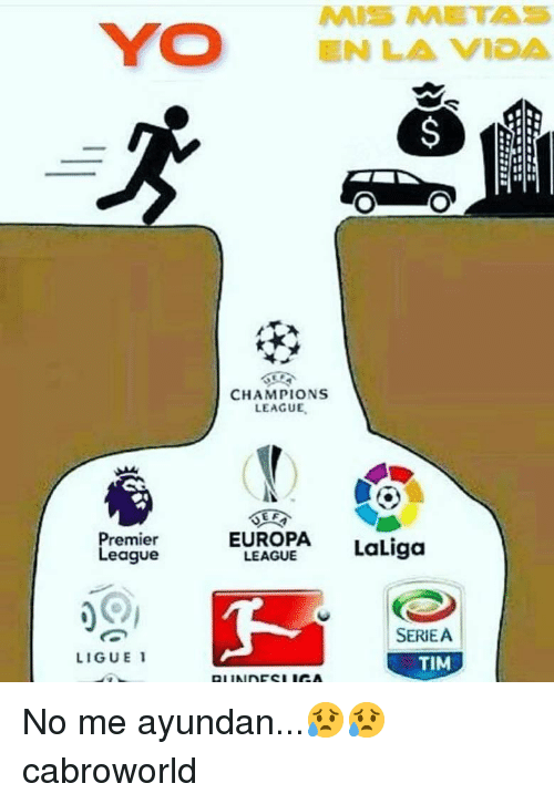 Champions League, League, and Europa: CHAMPIONS  LEAGUE  EUROPA LaLiga  remie  eague  LEAGUE  SERIEA  TIM  LIGUE 1 No me ayundan...😥😥 cabroworld