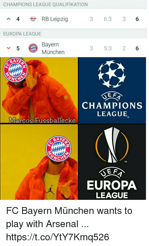 fc bayern: CHAMPIONS LEAGUE QUALIFIKATION  4  RB Leipzig  3 6:3 36  EUROPA LEAGUE  Bayern  München  5  3 5:3 26  CHAMPIONS  LEAGUE  Marcos Fussballecke  BAY  TM  E F  EUROPA  LEAGUE FC Bayern München wants to play with Arsenal ... https://t.co/YtY7Kmq526