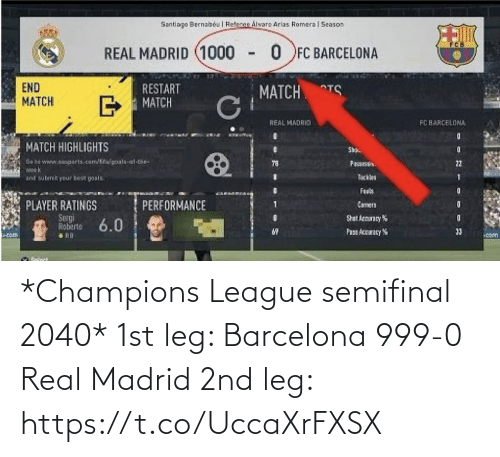 leg: *Champions League semifinal 2040*  1st leg:  Barcelona 999-0 Real Madrid  2nd leg: https://t.co/UccaXrFXSX
