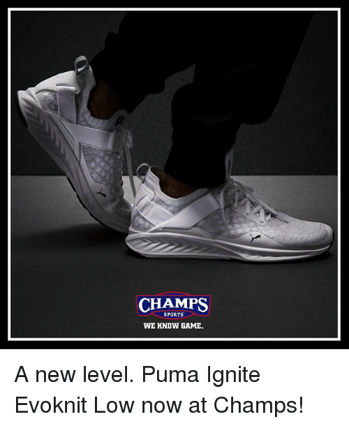 ignite: CHAMPS  SPORTS  WE KNOW GAME A new level. Puma Ignite Evoknit Low now at Champs!