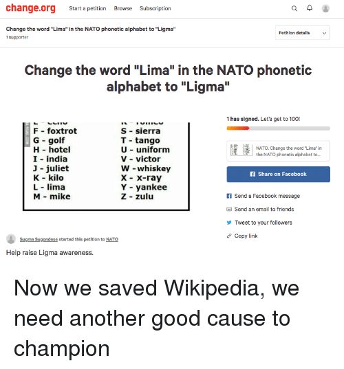 "Anaconda, Facebook, and Friends: change.org Start a petition Browse Subscription  Change the word ""Lima"" in the NATO phonetic alphabet to ""Ligma""  1 supporter  Petition details  Change the word ""Lima"" in the NATO phonetic  alphabet to ""Ligma  1 has signed. Let's get to 100!  F foxtrot  G golf  H hotel  I india  3 juliet  K - kilo  L lima  M mike  S - sierra  T tango  U uniform  V - victor  W whiskey  X - X-ray  Y - yankee  Z zulu  馑逢!  NATO: Change the word ""Lima"" in  the NATO phonetic alphabet to...  f Share on Facebook  f Send a Facebook message  Send an email to friends  Tweet to your followers  e Copy link  Sugma Sugondese started this petition to NATO  Help raise Ligma awareness."