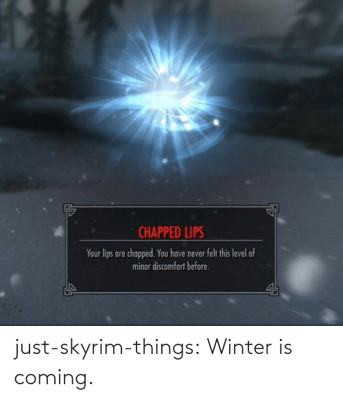 Is Coming: CHAPPED LIPS  Your lips are chapped. You have never felt this level of  minor discomfort before. just-skyrim-things: Winter is coming.