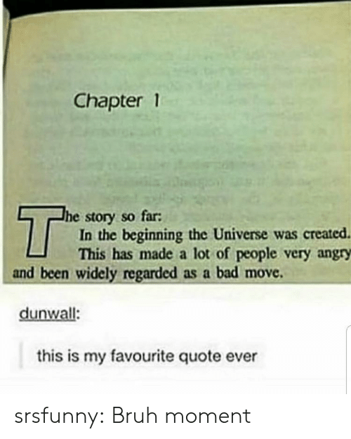 Bad, Bruh, and Tumblr: Chapter 1  T  he story so far:  In the beginning the Universe was created  This has made a lot of people very angry  and been widely regarded as a bad move  dunwall:  this is my favourite quote ever srsfunny:  Bruh moment