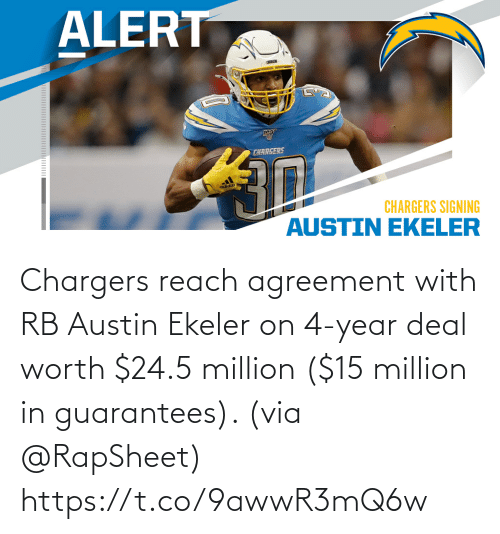 Chargers: Chargers reach agreement with RB Austin Ekeler on 4-year deal worth $24.5 million ($15 million in guarantees). (via @RapSheet) https://t.co/9awwR3mQ6w