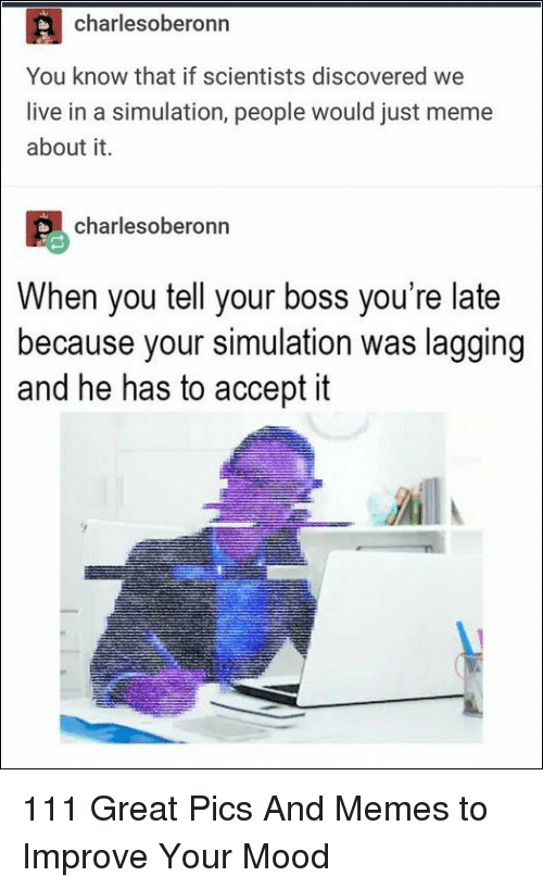 Meme, Memes, and Mood: charlesoberonn  You know that if scientists discovered we  live in a simulation, people would just meme  about it.  charlesoberonn  When you tell your boss you're late  because your simulation was lagging  and he has to accept it 111 Great Pics And Memes to Improve Your Mood