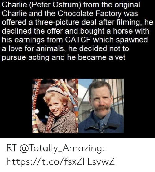 Peter Ostrum: Charlie (Peter Ostrum) from the original  Charlie and the Chocolate Factory was  offered a three-picture deal after filming, he  declined the offer and bought a horse with  his earnings from CATCF which spawned  a love for animals, he decided not to  pursue acting and he became a vet RT @TotaIIy_Amazing: https://t.co/fsxZFLsvwZ
