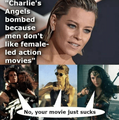 "led: ""Charlie's  Angels  bombed  because  men don't  like female-  led action  movies""  No, your movie just sucks"