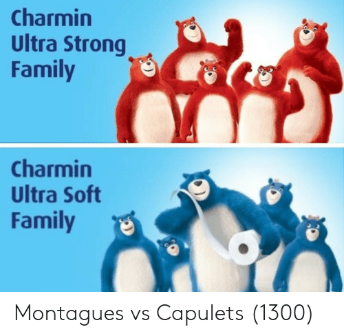 Family, Strong, and Soft: Charmin  Ultra Strong  Family  Charmin  Ultra Soft  Family Montagues vs Capulets (1300)
