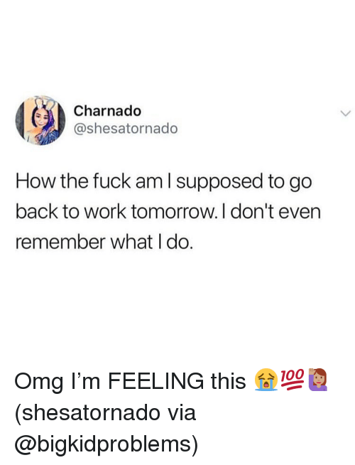 Memes, Omg, and Work: Charnado  @shesatornado  How the fuck am l supposed to go  back to work tomorrow.I don't even  remember what I do. Omg I'm FEELING this 😭💯🙋🏽‍♀️(shesatornado via @bigkidproblems)