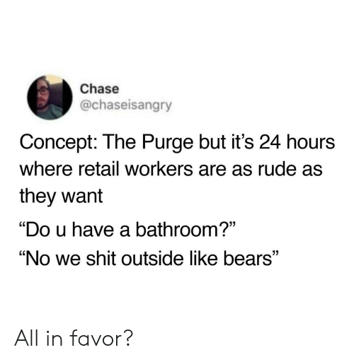 """Rude, Shit, and The Purge: Chase  @chaseisangry  Concept: The Purge but it's 24 hours  where retail workers are as rude as  they want  """"Do u have a bathroom?""""  """"No we shit outside like bears"""" All in favor?"""