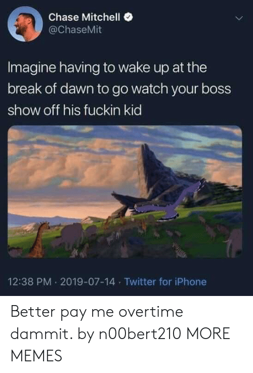 Dank, Iphone, and Memes: Chase Mitchell  @ChaseMit  Imagine having to wake up at the  break of dawn to go watch your boss  show off his fuckin kid  12:38 PM 2019-07-14 Twitter for iPhone Better pay me overtime dammit. by n00bert210 MORE MEMES