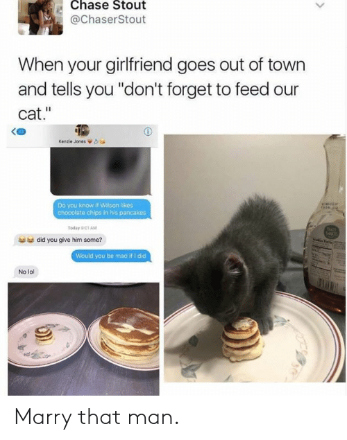"""pancakes: Chase Stout  @ChaserStout  When your girlfriend goes out of town  and tells you """"don't forget to feed our  cat.""""  Kenzie Jones òea  Do you know if Wilson likes  chocolate chips in his pancakes  Today 001 AM  did you give him some?  Would you be mad if I did  No lol Marry that man."""