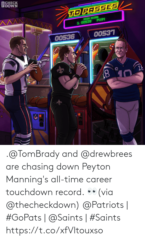 All Time: |CHECK  DOWN  TD PASSES  HIGH SCORE  PWM  1. 00539  00536  00537  PATRO  18  8.  10  NFL .@TomBrady and @drewbrees are chasing down Peyton Manning's all-time career touchdown record. 👀(via @thecheckdown)  @Patriots | #GoPats | @Saints | #Saints https://t.co/xfVltouxso