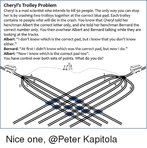 """trolleys: Cheryl's Trolley Problem  Cheryl is a mad scientist who intends to kill 50 people. The only way you can stop  her is by crashing two trolleys together at the correct blue pad. Each trolley  contains 10 people who will die in the crash. You know that Cheryl told her  henchman Albert the correct letter only, and she told her henchman Bernard the  correct number only. You then overhear Albert and Bernard talking while they are  looking at the tracks.  Albert: """"I don't know which is the correct pad, but l know that you don't know  either  Bernard: """"At first l didn't know which was the correct pad, but now l do.""""  Albert: """"Now know which is the correct pad too"""".  You have control over both sets of points. What do you do? Nice one, @Peter Kapitola"""