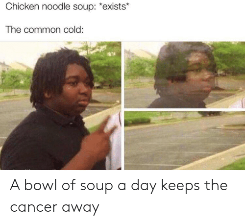 """chicken noodle soup: Chicken noodle soup: """"exists*  The common cold: A bowl of soup a day keeps the cancer away"""