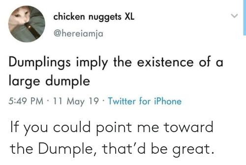 Iphone, Twitter, and Chicken: chicken nuggets XL  @hereiamja  Dumplings imply the existence of a  large dumple  5:49 PM· 11 May 19 . Twitter for iPhone If you could point me toward the Dumple, that'd be great.