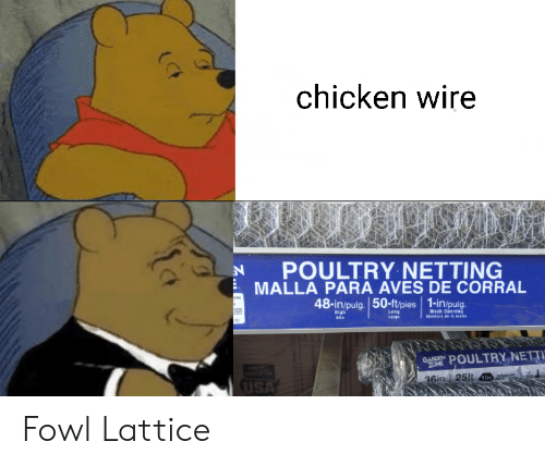 Opening: chicken wire  POULTRY NETTING  MALLA PARA AVES DE CORRAL  hay  48-in/pulg. 50-ft/pies 1-in/pulg.  AE  Leng  Mesh Opening  aDertura de la malls  High  Alto  Large  GANDEN POULTRY NETTI  ZONE  USA  36in 125ft I Fowl Lattice