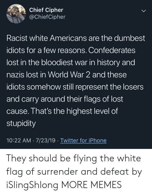 In World: Chief Cipher  @ChiefCipher  Racist white Americans are the dumbest  idiots for a few reasons. Confederates  lost in the bloodiest war in history and  nazis lost in World War 2 and these  idiots somehow still represent the losers  and carry around their flags of lost  cause. That's the highest level of  stupidity  10:22 AM 7/23/19 Twitter for iPhone They should be flying the white flag of surrender and defeat by iSlingShlong MORE MEMES