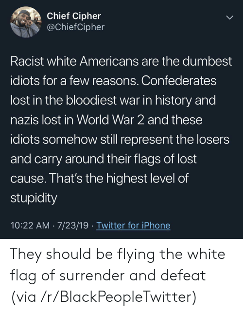 In World: Chief Cipher  @ChiefCipher  Racist white Americans are the dumbest  idiots for a few reasons. Confederates  lost in the bloodiest war in history and  nazis lost in World War 2 and these  idiots somehow still represent the losers  and carry around their flags of lost  cause. That's the highest level of  stupidity  10:22 AM 7/23/19 Twitter for iPhone They should be flying the white flag of surrender and defeat (via /r/BlackPeopleTwitter)