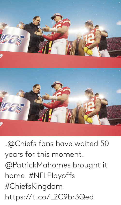 fans: .@Chiefs fans have waited 50 years for this moment.  @PatrickMahomes brought it home. #NFLPlayoffs #ChiefsKingdom https://t.co/L2C9br3Qed