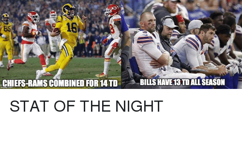 Nfl, Chiefs, and Rams: CHIEFS-RAMS COMBINED FOR 14 TD BILLSHAVE13 TD ALL SEASON STAT OF THE NIGHT