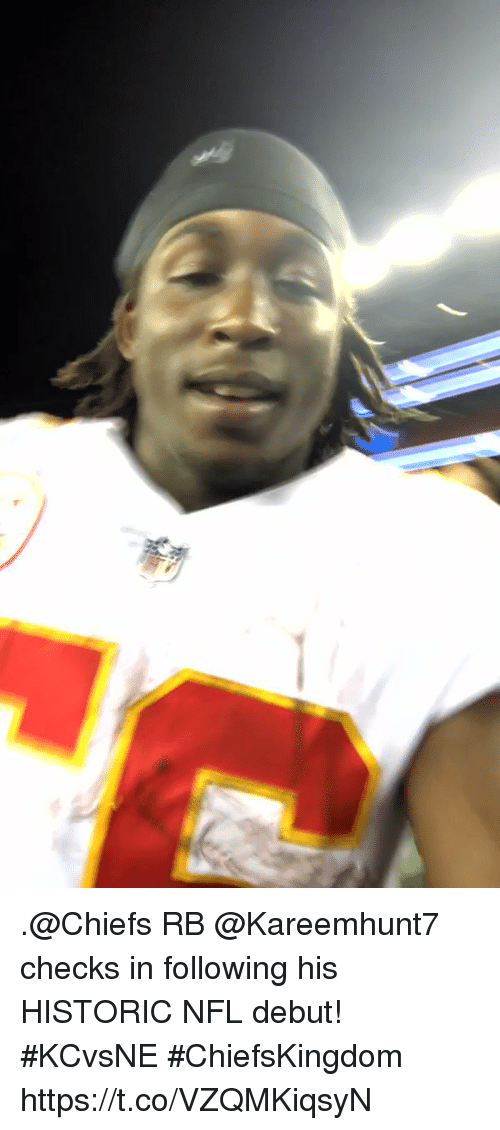 coeds: .@Chiefs RB @Kareemhunt7 checks in following his HISTORIC NFL debut! #KCvsNE #ChiefsKingdom https://t.co/VZQMKiqsyN