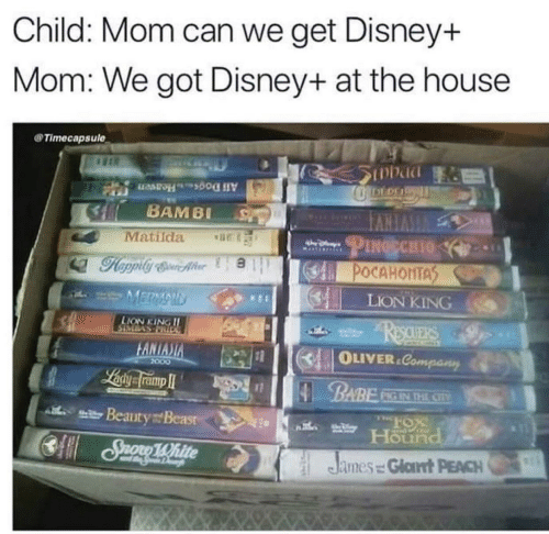 Lion: Child: Mom can we get Disney+  Mom: We got Disney+ at the house  Timecapsule  SInbad  DEDE  All DogsHeaven  BAMBI  VVERVI  PINGECHIO  Matilda  POCAHONTAS  MERMAID  LION KING  LION KING II  ReauERS  DOTULASMOIS  FANIASIA  OLIVER.Company  2000  Laiy framp I  BABE  PIG IN THE CIV  l Beauty Beasr  Hound  CSuono 1White  R15  James = Glat PEACH