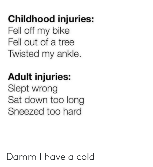 Cold: Childhood injuries:  Fell off my bike  Fell out of a tree  Twisted my ankle.  Adult injuries:  Slept wrong  Sat down too long  Sneezed too hard Damm I have a cold