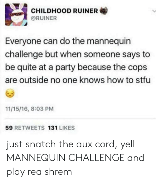 The Mannequin: CHILDHOOD RUINER  @RUINER  Everyone can do the mannequin  challenge but when someone says to  be quite at a party because the cops  are outside no one knows how to stfu  11/15/16, 8:03 PM  59 RETWEETS 131 LIKES just snatch the aux cord, yell MANNEQUIN CHALLENGE and play rea shrem