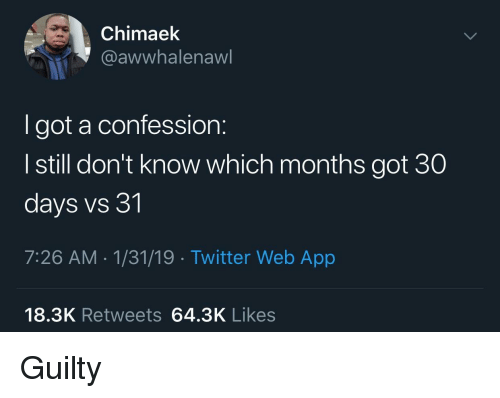 Twitter, Got, and App: Chimaek  @awwhalenaw  I got a confession:  I still don't know which months got 30  days vs 31  7:26 AM-1/31/19 Twitter Web App  18.3K Retweets 64.3K Likes Guilty