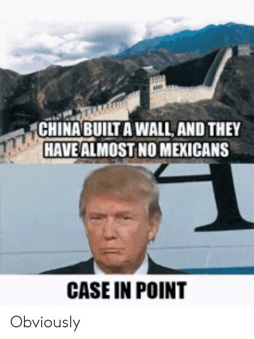 China, Case, and They: CHINA BUILT A WALL, AND THEY  HAVE ALMOST NO MEXICANS  CASE IN POINT Obviously