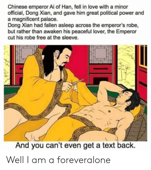 The Emperor: Chinese emperor Ai of Han, fell in love with a minor  official, Dong Xian, and gave him great political power and  a magnificent palace.  Dong Xian had fallen asleep across the emperor's robe,  but rather than awaken his peaceful lover, the Emperor  cut his robe free at the sleeve.  And you can't even get a text back. Well I am a foreveralone