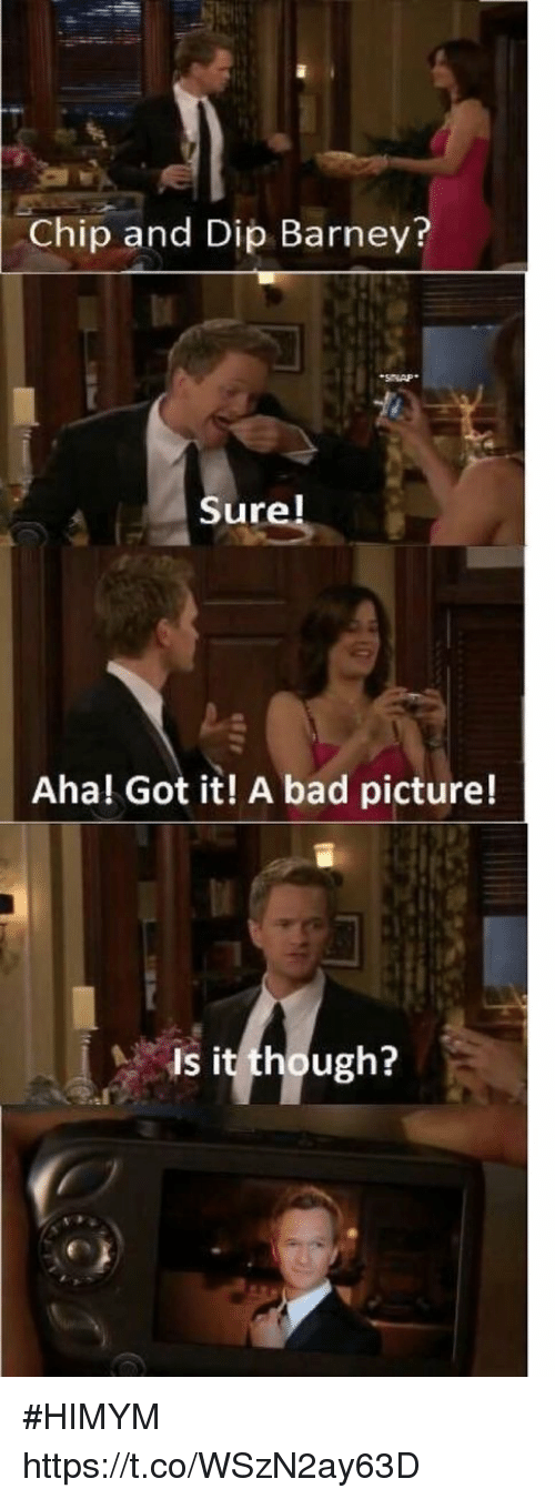 Bad, Barney, and Memes: Chip and Dip Barney?  Sure!  Aha! Got it! A bad picture!  Is it though? #HIMYM https://t.co/WSzN2ay63D