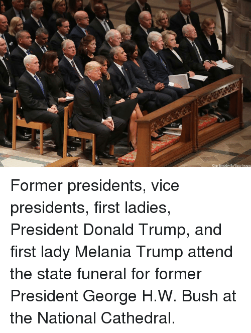 Donald Trump, Melania Trump, and Memes: Chip Somodevilla/Getty Images Former presidents, vice presidents, first ladies, President Donald Trump, and first lady Melania Trump attend the state funeral for former President George H.W. Bush at the National Cathedral.