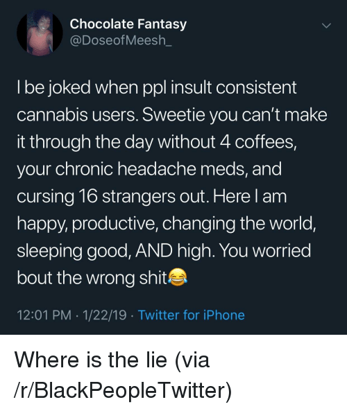 Blackpeopletwitter, Iphone, and Shit: Chocolate Fantasy  @DoseofMeesh_  l be joked when ppl insult consistent  cannabis users. Sweetie you can't make  it through the day without 4 coffees,  your chronic headache meds, and  cursing 16 strangers out. Here l am  happy, productive, changing the world,  sleeping good, AND high. You worried  bout the wrong shit  12:01 PM 1/22/19 Twitter for iPhone Where is the lie (via /r/BlackPeopleTwitter)