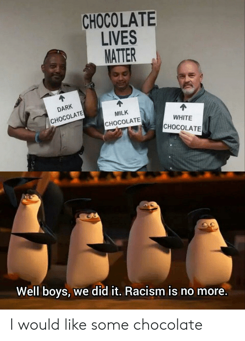 Racism, Chocolate, and White: CHOCOLATE  LIVES  MATTER  DARK  MILK  CHOCOLATE  WHITE  СНОCOLATE  CНОCOLATЕ  Well boys, we did it. Racism is no more. I would like some chocolate