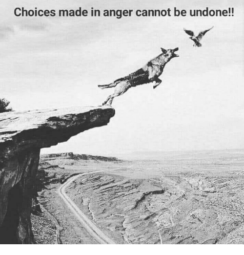 Anger, Made, and  Choices: Choices made in anger cannot be undone!!