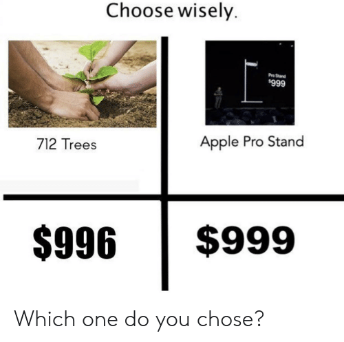 Choose Wisely: Choose wisely.  Pro Stand  $999  Apple Pro Stand  712 Trees  $999  $996 Which one do you chose?