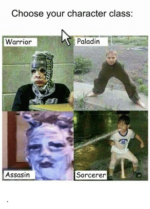 Paladin, Warrior, and Class: Choose your character class:  Warrior  Paladin  Assasin  Sorcerer .