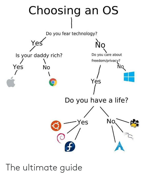 guide: Choosing an OS  Do you fear technology?  Yes  No  Do you care about  Is your daddy rich?  freedom/privacy?  Yes  No  Yes  Do you have a life?  No  Yes  1. The ultimate guide