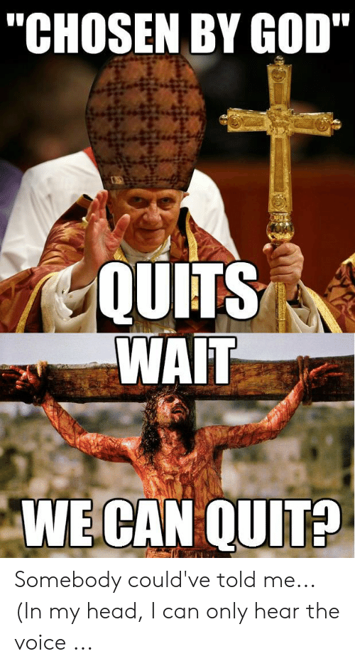 """Offensive Jesus Memes: """"CHOSEN BY GOD""""  QUITS  WAIT  WE CAN QUIT? Somebody could've told me... (In my head, I can only hear the voice ..."""